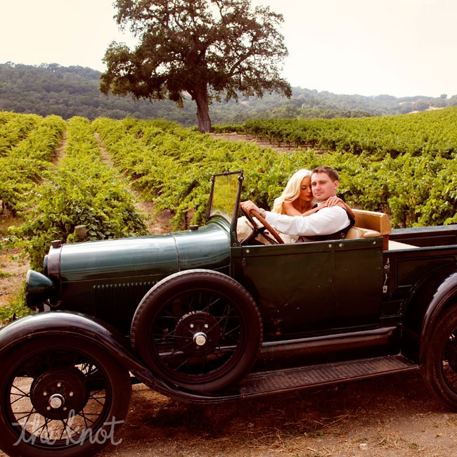 Our getaway car was a 1930s Ford Model A. Sadly, the engine wouldn't start, but we had fun taking pictures in it!