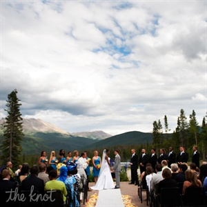 As the duo exchanged vows, their guests were treated to an impressive view of the Rocky Mountains.