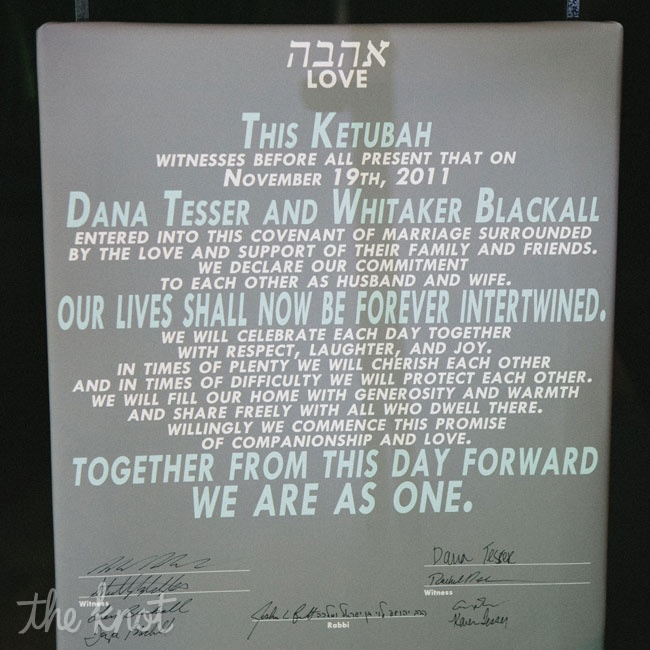 Dana and Whit signed a modern interpretation of the traditional Jewish marriage contract.
