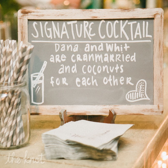 A refreshing mix of coconut rum, cranberry and pineapple juices and soda water was used for the couple's signature drink.