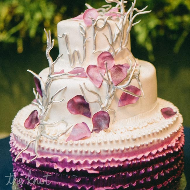 The ombre purple-to-white cake was topped with silver branches and purple petals.