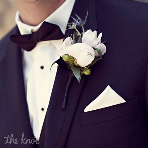 White Peony and Thistle Boutonniere