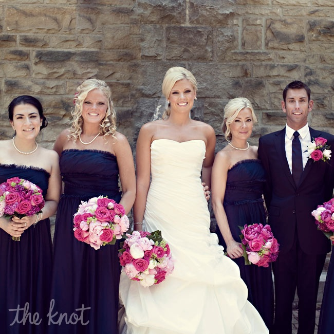 "The four bridesmaids wore navy dresses while Julie's self-proclaimed ""bridesman"" wore a deep-blue suit."