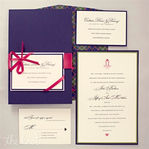 Paying homage to their roots, the couple chose a simple design with a bold plaid envelope liner.