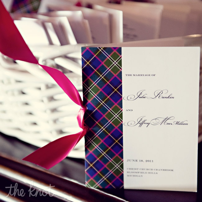 The programs were trimmed with the same plaid design as the rest of the stationery.