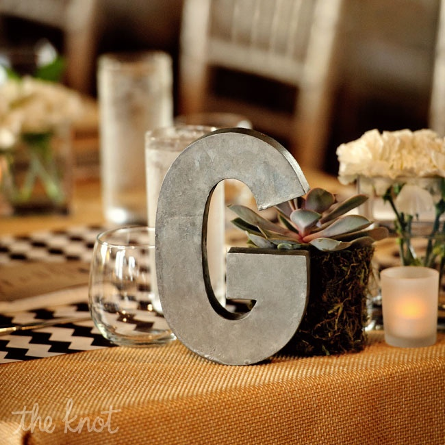 Each table was labeled with steel-colored block letters.
