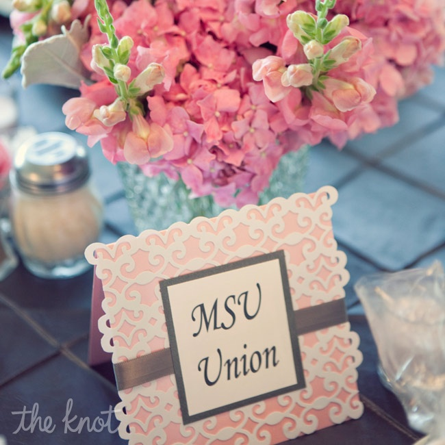 Each table was named after a location in the college town where the couple met.