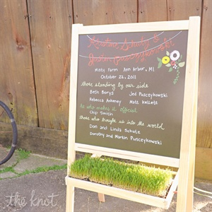 In lieu of traditional programs, the day's details were written on colorful chalkboards.