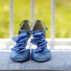 Ruffled Blue Bridal Shoes