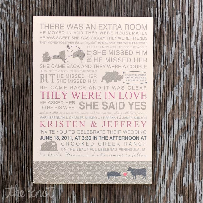 A graphic designer turned architect, Kristen designed the invitations, which told an abridged version of the couple's love story.