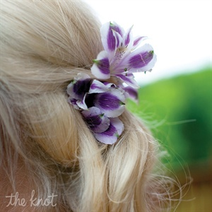 White and Purple Hair Flower