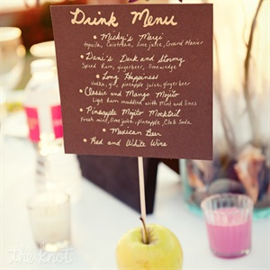 Danielle and Mick created three signature drinks for their guests to enjoy; Mickys Margi, Danis Dark and Stormy and Long Happiness.