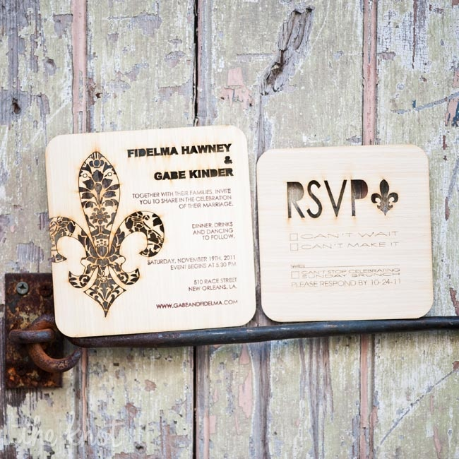 "For Fidelma her invitations became a ""labor of love"". She hand made these invitations by cutting a flur-de-lis design into a wood veneer with a laser cutter. The invitations were a huge hit with many friends requesting a design for their own weddings invitations."