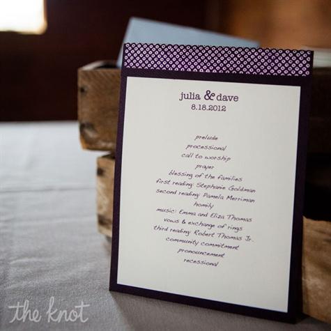 Simple Purple Ceremony Programs