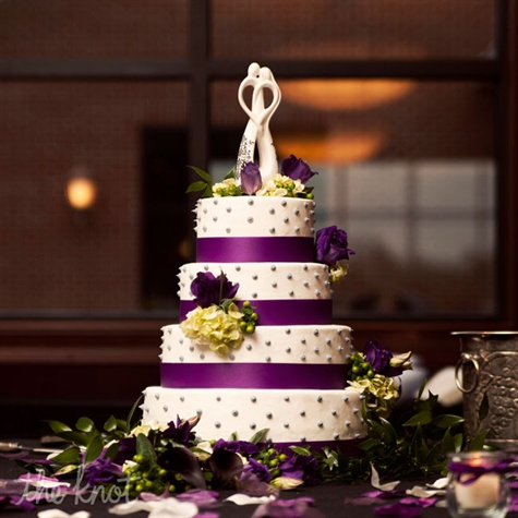 Four-Tier White and Purple Cake with Grey Dots