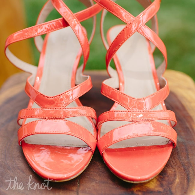 For a pop of color to her bridal look, Erica wore these bright orange J. Crew heels.