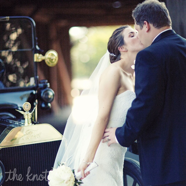 The couple got to take an antique Model T Ford around the museum for wedding photos.
