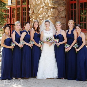 All the girls wore elegant navy floor-length dresses with different necklines.