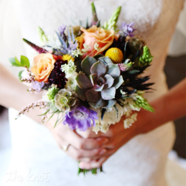 Sarah carried a colorful bouquet of billy balls, succulents and roses.