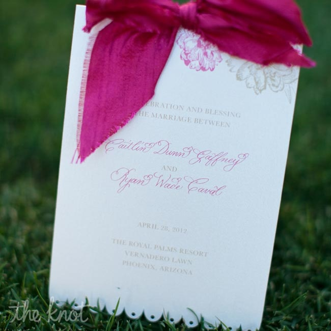 Caitlin used a peony floral design throughout her wedding paper materials, including her program, designed by MJ Paperie