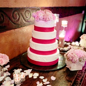 Caitlin found the inspiration for her wedding cake right on TheKnot.com! Caitlin and Ryan picked two very unique flavors for their wedding cake: chocolate sponge cake with whipped peanut butter, chocolate chips and chocolate mousse as well as a vanilla sponge cake with chocolate mousse and white chocolate Frangelico with fresh raspberries.