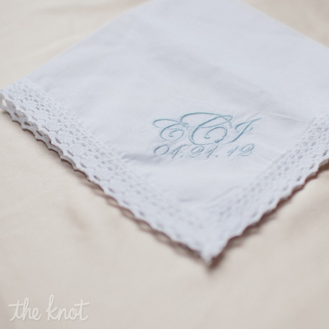 Christin's new married monogram adorned a handkerchief she wrapped around her bouquet.