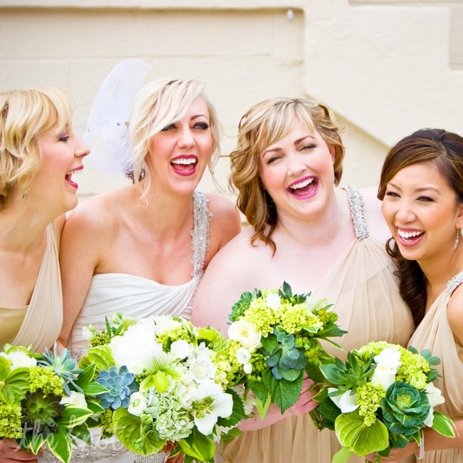 Corie and her bridesmaids carried green and white bouquets of peonies, lady slipper orchids, sweet peas, hydrangeas and kale.