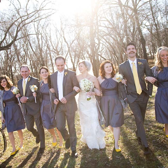 The girls wore the same pewter dress and bright yellow flats. The groomsmen matched the color scheme in gray suits and yellow ties.