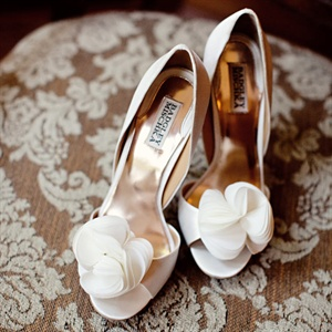 Michelle's ruffled white peep-toe heels were her first wedding purchase!