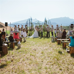 Ceremony with a Mountain Backdrop