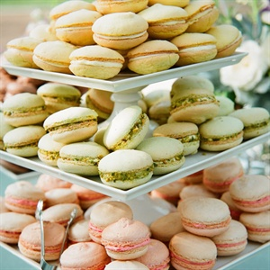 Paige loves macarons so she set them out in various flavors for guests to take for the road.
