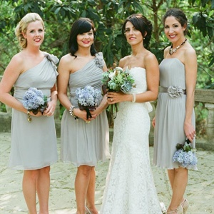 The girls wore soft gray dresses in different short silhouettes.