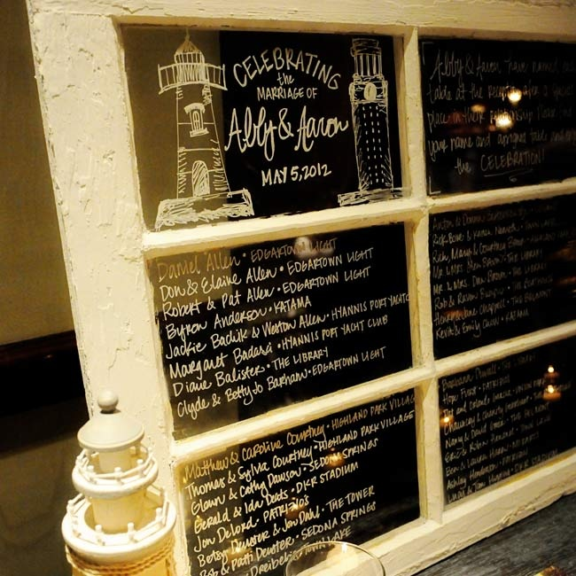 Guests found their seats by referring to an old window that had everyone's table assignment written on the glass.