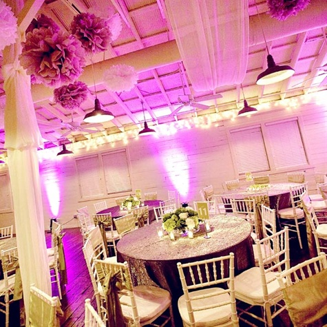 Purple and White Reception Decor