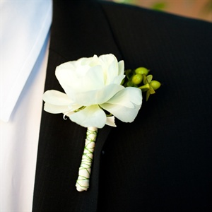 White Rose and Berry Boutonniere