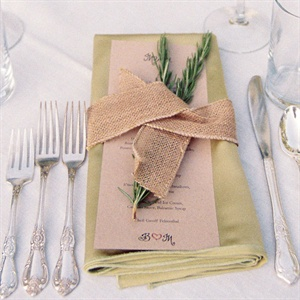 The reception was catered by Ben's uncle Geoff who also designed the menu. The menu was topped with a sprig of rosemary and tied with a rustic ribbon.