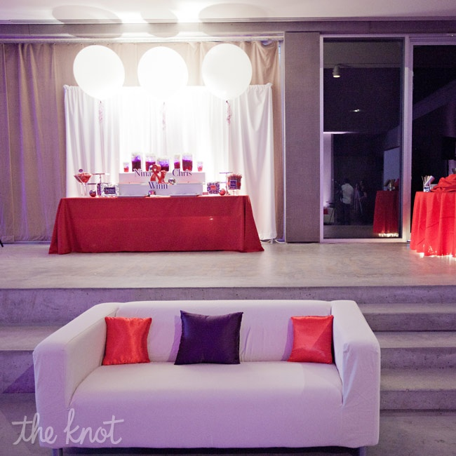 White couches at both ends of the dance floor provided a place for guests to relax.