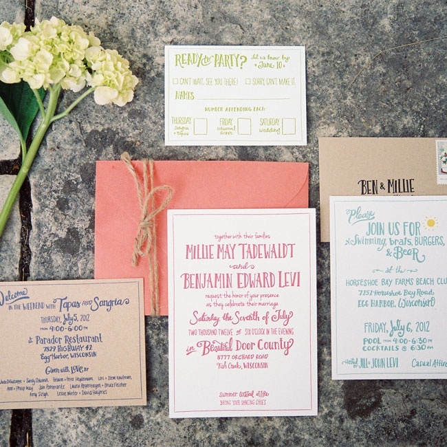 The bride designed the invitations and programs herself with illustrations by Angela Pestano.