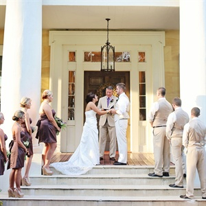 The groom's father, a pastor, officiated the ceremony which took place on the grounds of the Houmas House Plantation.