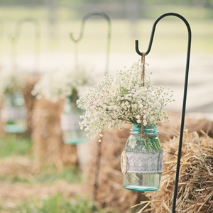 Blue Mason Jar Ceremony Aisle Decor