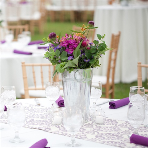 Silver Pail Centerpiece and Lavender Table Runner