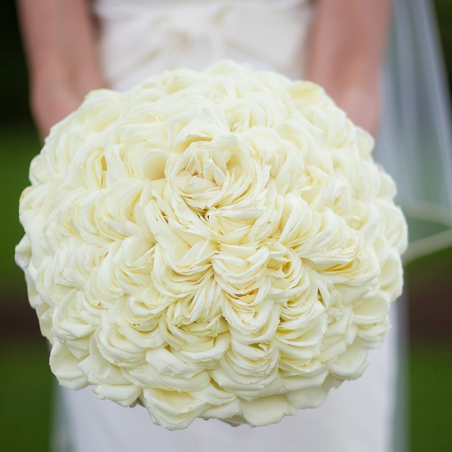Hand-constructed from hundreds of rose petals, the showstopping bouquet was designed to look like one large flower.