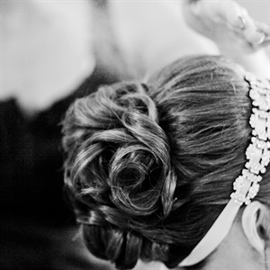Cherylynne wore a simple curled updo to complement her elegant Vera Wang gown.