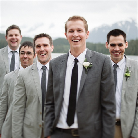 Gray Groom and Groomsmen Attire
