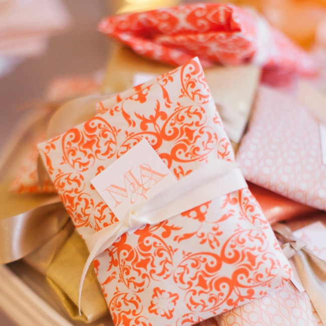 For a sweet takeaway, Mexican wedding cookies were wrapped in bold fabrics.