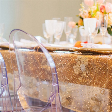 Gold Embellished Tablecloth