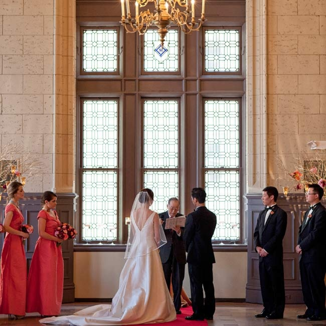 A red-carpeted aisle created a glam vibe at the ceremony.