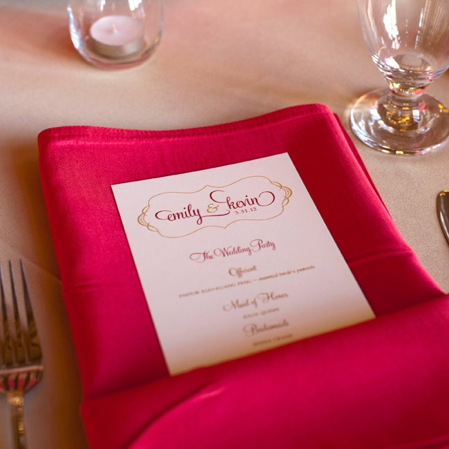 The sophisticated menus were tucked into vibrant napkins.