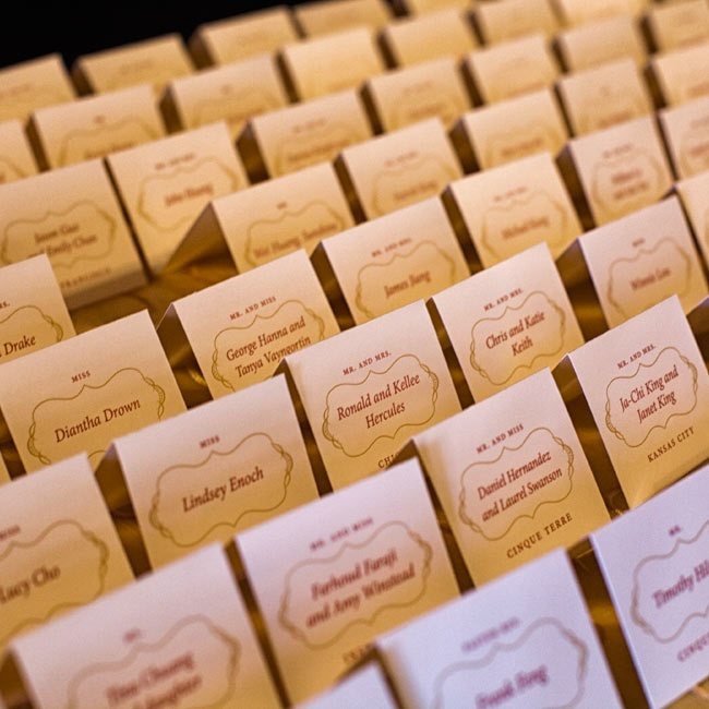 Elegant tented cards were displayed as guests entered the reception space.