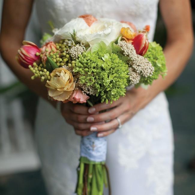 Rebecca carried a loosely tied, organic bouquet similar to the other arrangements.
